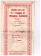 Titre Ancien - Société Générale De Tramways Et D'Applications D'Electricité - Titre De 1903 - - Chemin De Fer & Tramway