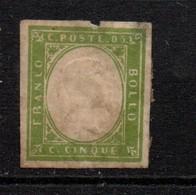 Sardinia 1855 5 Cent Green Used Spacefiller. - Sardaigne