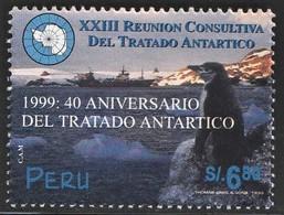 1999 Peru 40th Anniversary Of The Antarctic Treaty: Chinstrap Penguin Stamp (** / MNH / UMM) - Tratado Antártico