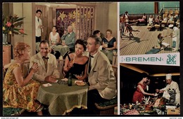T.S. Bremen  -  Flagship Of North German Lloyd  -  Restaurant  -  Ansichtskarte Ca.1960    (12799) - Steamers