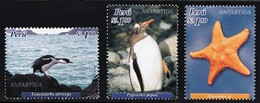 2004 Peru Antarctic Wildlife: Imperial Shag, Gentoo Penguin, Sea Star Set (** / MNH / UMM) - Antarctic Wildlife