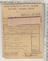 CALALZO BELLUNO RICEVUTA BOLLETTA IDROELETTRICA ALTO VENETO RARA 1948 - Historical Documents