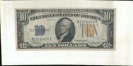 Billet 10 Dollars Hamilton - Yellow Seal 1934 A  ÉTATS-UNIS D'AMÉRIQUE (Urgence Émission Militaire) ( Mai 2020  045) - Washington