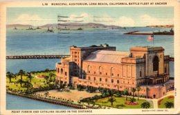 California Long Beach Municipal Auditorium With Battle Fleet At Anchor 1939 - Long Beach