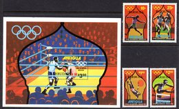 BARBUDA - 1980 MOSCOW OLYMPICS SET (4V) & MS FINE MNH ** SG 489-492, MS493 - Barbuda (...-1981)