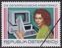 Specimen, Austria Sc1377 Industry, Office Worker, Computer, Industrie - Fabriken Und Industrien