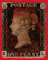 GBR SC #1 U (E,L) 1840 Queen Victoria 1 Margin W/red Cancel CV $320.00 - 1840-1901 (Victoria)