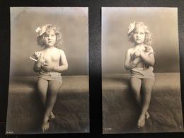 9 Vintage Postcards Little Girl Fillette Nu Posing - Postales