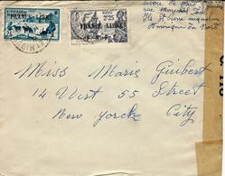 WWII-  Enveloppe De St Pierre Et Miquelon Pour N Y  Affr. N°253 Et 282  FRANCE LIBRE + Censure Américaine - St.Pierre & Miquelon