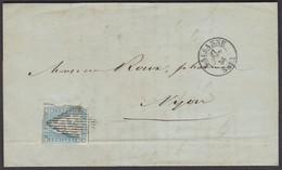 VD  LAUSANNE - NYON  /  STRUBEL 23Ca /  27.AUG.56 - 1854-1862 Helvetia (Non-dentelés)