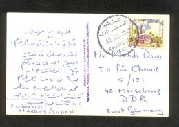 SUDAN KHARTOUM TO GERMANY MERSEBURG 1967 POSTCARD 46312 SC# 168 FAIR PAVILION - Sudan (1954-...)