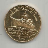 Médaille , Bateau ,S.S. NORMANDIE ,1935 , Commemorating Maiden Voyage , 2 Scans , Frais Fr 1.55 E - Firma's
