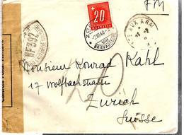 32621 - En FM Pour La SUISSE Avec Timbre Taxe - Guerre De 1939-45