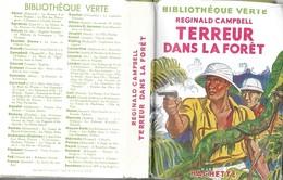BIBLIOTHEQUE VERTE EDITION 1953  - TERREUR DANS LA FORET DE REGINALD CAMPBELL ( JAQUETTE ) ILLUSTRATIONS FRANCOIS BATET - Bibliotheque Verte
