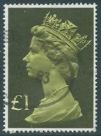 1977 GRAN BRETAGNA USATO EFFIGIE REGINA ELISABETTA II ALTI VALORI 1 £ - RC52-2 - 1952-.... (Elisabetta II)