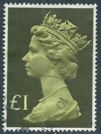 1977 GRAN BRETAGNA USATO EFFIGIE REGINA ELISABETTA II ALTI VALORI 1 £ - RC52-3 - 1952-.... (Elisabetta II)