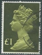 1977 GRAN BRETAGNA USATO EFFIGIE REGINA ELISABETTA II ALTI VALORI 1 £ - RC52-5 - 1952-.... (Elisabetta II)