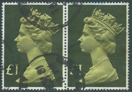 1977 GRAN BRETAGNA USATO EFFIGIE REGINA ELISABETTA II ALTI VALORI 1 £ - RC52-7 - 1952-.... (Elisabetta II)