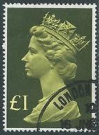 1977 GRAN BRETAGNA USATO EFFIGIE REGINA ELISABETTA II ALTI VALORI 1 £ - RC52-10 - 1952-.... (Elisabetta II)