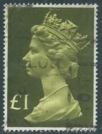1977 GRAN BRETAGNA USATO EFFIGIE REGINA ELISABETTA II ALTI VALORI 1 £ - RC54-4 - 1952-.... (Elisabetta II)