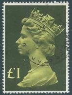 1977 GRAN BRETAGNA USATO EFFIGIE REGINA ELISABETTA II ALTI VALORI 1 £ - RC54-5 - 1952-.... (Elisabetta II)