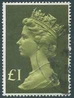 1977 GRAN BRETAGNA USATO EFFIGIE REGINA ELISABETTA II ALTI VALORI 1 £ - RC54-6 - 1952-.... (Elisabetta II)