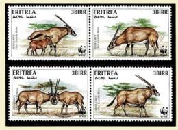 Eritrea 1996 Beisa Oryx WWF Set Of 4 MNH - Eritrea