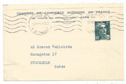 GANDON 2FR SEUL CARTE PARIS 34 10.VI.1947 POUR SUEDE AU TARIF IMPRIME - 1945-54 Marianne De Gandon