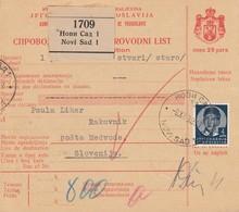 Yugoslavia 1940 Parcel Card Novi Sad - Medvode, Postage Due - 1931-1941 Regno Di Jugoslavia