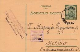 Serbia 1944 Censored Card - Serbia