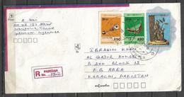 USED REGISTERED AIR MAIL COVER MYANMAR ( BURMA ) TO PAKISTAN - Myanmar (Burma 1948-...)