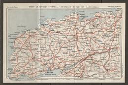 CARTE PLAN 1930 - BRETAGNE - BREST LE CONQUET PORTSALL BRIGNOGAN PLOUESGAT LANDERNEAU - Topographical Maps