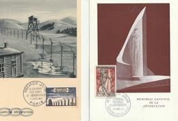 Lot De 2 Cartes 1er Jour : Memorial National De La Déportation NATZWILLER - Souvenir Des Camps De Déportations PARIS - Maximum Cards