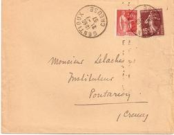 8E6 --- 23   GENTIOUX Pour Pontarion    A4   50c Paix + 15c Semeuse - Postmark Collection (Covers)