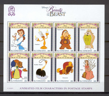 Disney St Vincent 1992 Beauty And The Beast Sheetlet #2 MNH - Disney