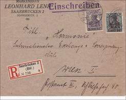 Saargebiet: Germania Auf R-Brief Von Saarbrücken Nach Wien 1921 - Non Classificati