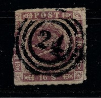 "DANEMARK 1854/1864 YT N° 7 (o) 16 Skill Lilas ""24"" /RECOMMANDE &  PAY-PAL OBLIGATOIRE Pour Ce Lot - Danimarca"
