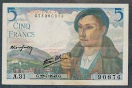 5 Francs 22/7/1943 SUP Série A - 1871-1952 Antichi Franchi Circolanti Nel XX Secolo