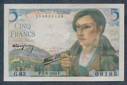 5 Francs 5/8/1943 SPL+ Pas De Plis!!! - 1871-1952 Circulated During XXth