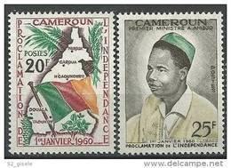 "Cameroun YT 310 & 311 "" Proclamation De L'Indépendance "" 1960 Neuf** - Camerún (1960-...)"