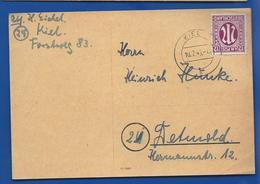 POSTKARTE   Zone ASS   Affranchi à 12 Am Post Oblitération:  KIEL  10/7/1945 - Zone AAS