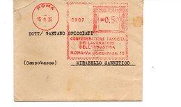 1935 EMA Affrancatura Meccanica Rossa Freistempel Roma Confederazione Fascista Lavoratori Industria - Machine Stamps (ATM)