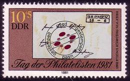 2646 Tag Der Philatelisten 10+5 Pf Engels 1981 O - Unclassified