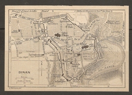 CARTE PLAN 1930 - DINAN - ENCEINTE TOURS BATEAUX POUR SAINT MALO ÉGLISE ANGLICANE - Topographical Maps