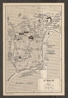 CARTE PLAN 1930 - SAINT MALO - PLAGE DES BAINS ÉCOLE MARITIME THÉATRE FORT A LA REINE GARE TRAM - Topographical Maps