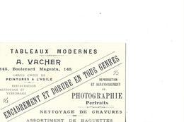 PARIS 75010    CARTON PUB REPRESENTANT TABLEAUX A VACHER 145 BLD MAGENTA - District 10