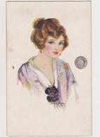 Carte Fantaisie Signée Dorothy Mostyn .1914  / Jolie Jeune Femme  / Fer à Cheval - My Mascot - Mauzan, L.A.