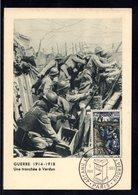 """1956 """" 40 ANS DE LA VICTOIRE DE VERDUN """" Sur Carte Maximum De 1956. N° YT 1053. Parfait état. Voir Les 2 Scans. CM - 1. Weltkrieg"""
