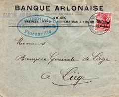 OC3 Sur Lettre (courrier Bancaire) De FLORENVILLE Vers Liège - Censure De Florenville - [OC1/25] Gen.reg.