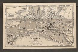 CARTE PLAN 1930 - BRETAGNE - QUIMPER - MONT FRUGY BATEAUX POUR BÉNODET FAIENCERIES THÉATRE - Topographical Maps